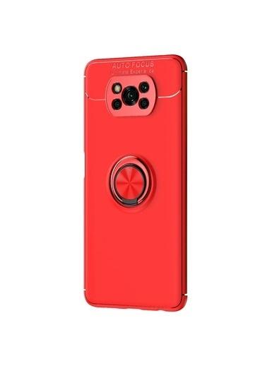 Microsonic Xiaomi Poco X3 Pro Kılıf Kickstand Ring Holder Kırmızı Kırmızı